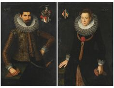 North Italian School, 1617, Portrait of a man and his wife, pair, the former charged with the coat-of-arms of the Asinari di Monbercello family upper right ; the latter with the Asinari coat-of-arms impaling those of the Zondodari of Venice upper left, 1617