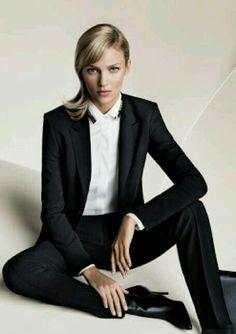 Anja Rubik Hugo Boss.  Via @OnlyDrinkChamps. #suits #chic