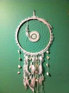 Large Dream Catcher Mermaid Hippie Gypsi Doily by CydsCreations, $120.00