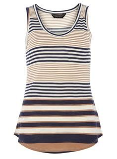 Sleeveless jersey vest in all over stripe print. Blue Vests, Holiday Outfits, Summer Outfits, Going Out Tops, Striped Tank Top, Printed Tank Tops, Blue Tops, Print Tank