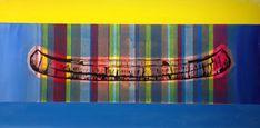 Birch Canoe - Acrylics and photocopy transfer - Toronto 2014