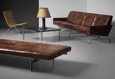 Diverse ikoniska föremål av Poul Kjaerholm som går under klubban på Bukowskis auktion Nordic & Modern