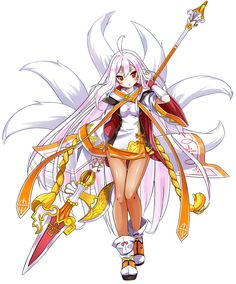 View an image titled 'Sakra Devanam, Celestial Fox Art' in our Elsword art gallery featuring official character designs, concept art, and promo pictures. Fox Character, Game Character Design, Character Design References, Character Concept, Concept Art, Skins Characters, Anime Characters, Neko, Character Illustration
