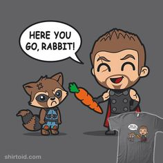 I'm No Rabbit   Shirtoid #boggsnicolas #carrot #comic #comics #film #marvelcomics #movies #rabbit #rocketraccoon #thor