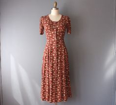 vintage 90s dress / 90s does 40s dress / red floral maxi dress / xs by…