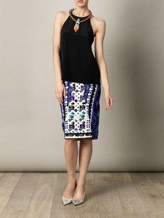 Tibi Silk Halterneck Top in Black - Lyst