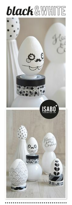 Fun black and white, decorated Easter eggs Egg Crafts, Egg Decorating, Easter Decor, Easter Ideas, Halloween Fun, Easter Eggs, Design Inspiration, Moustaches, Table Decorations