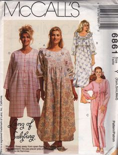 McCalls 6861 Misses Empire Waist Jumpsuit Nightgown and bedroom slippers womens sewing pattern Lanz of Salzburgby mbchills