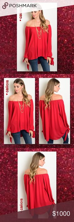 """ALMOST GONEBurgundy Open Sleeve Off Shoulder TOP New burgundy Off the shoulder woven blouse with long sleeves, hi-low hemline and flowy fit. Color: Burgundy Made in USA Material: 100% Polyester Size: Small, Medium, Large Fits true to size  Approx measurements on size small:  Bust: 56""""; Waist: 58""""; Length: 36""""  ‼️PRICE FIRM UNLESS BUNDLED‼️ NO TRADES ‼️LOWBALL OFFERS WILL BE IGNORED‼️ Glam Squad 2 You Tops"""