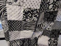 Black & White Rag Quilt Blanket by SweetPeasLayla on Etsy, $55.00