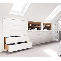 See a range of practical and stylish bedroom storage ideas to keep your bedroom . See a range of practical and stylish bedroom storage ideas to keep your bedroom clutter free Attic Bedroom Storage, Attic Bedroom Designs, Attic Design, Attic Rooms, Attic Spaces, Bedroom Loft, Bedroom Decor, Attic Bathroom, Bedroom Ideas