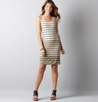 """Wavy Stitch Stripe Sweater Dress - We are addicted to the unexpectedly alluring vibe of a curve-loving sweater dress—wavy stitching adds a fashion-forward texture. Scoop neck. Sleeveless. Banded neckline and armholes. Ribbed hem. 35 1/2"""" from shoulder to hem."""