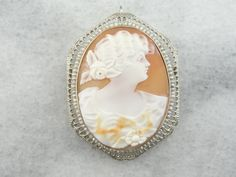 Pearl Edged 14K White Gold and Fine Shell Cameo, Antique Pendant, Filigree Frame, Pin or Brooch 6W76XZ-N