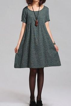 Summer Lovely doll Short sleeve tunic dress gown/ green/ Dark blue