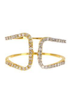 14K Gold Diamond H Ring