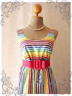Rainbow spectrum - Popping Summer Dress Indigo Stripe Dress Party Popping Tea Dress Party Event Everyday Dress White Shade Round Neck -S- on Etsy, $39.00