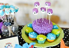 monster cake with cupcakes