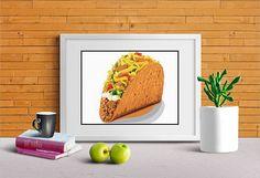 Taco Art Kitchen Wall Decor Food Lover Print Canvas Option