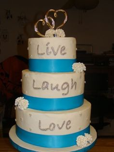 Live Laugh Love Embroidered Towel Cake In Black Damask And Red Roses