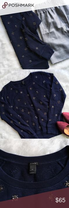 J. Crew Jeweled Sweatshirt Cozy yet chic jeweled sweatshirt from J. Crew. Retail not factory. Navy. Excellent, pre-loved condition. No missing jewels. Size XS. J. Crew Sweaters Crew & Scoop Necks