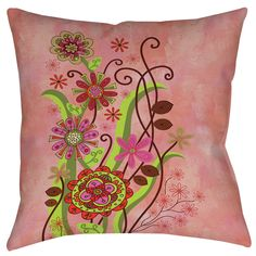 Flower Power Stems Printed Throw Pillow