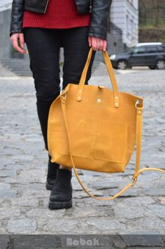 Leather laptop bag Leather MacBook bag Yellow leather tote Ginger leather bag…