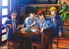 Image de Fukutomi Juichi, Hayato Shinkai, Toudou Jinpachi, Yasutomo Arakita de la série Yowamushi Pedal