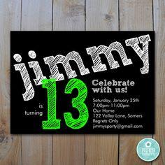 Birthday Invitation Teen Boy By FancyShmancyNotes