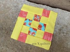 Give your nine patch quilt block patterns a little variety by designing them using this Flying Nine Patch Block pattern. It's very much like other free nine patch quilt patterns, but frames them with rectangles.