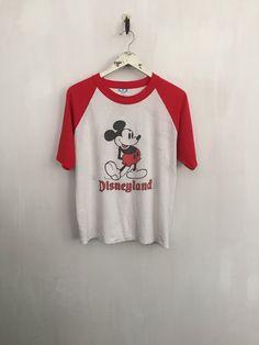 Mickey Mouse shirt 80s vintage t shirt Disneyland shirt raglan tee baseball tshirts 80s clothing 50/50 ringer tee red tshirt medium