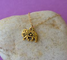 Gold Elephant Necklace by SeaSaltShop on Etsy, $18.00