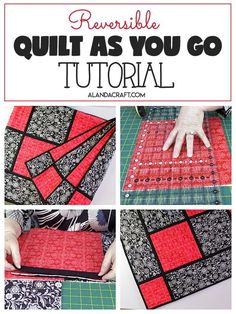 Sewing Patterns Easy Reversible Quilt As You Go Quilt With Sashing - Easy to put together. Free quilting pattern with step-by-step video and written tutorial. Quilting For Beginners, Sewing Projects For Beginners, Quilting Tips, Quilting Tutorials, Quilting Projects, Sewing Tutorials, Quilting Patterns, Quilting Room, Crazy Quilting