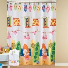 Surfboard Bathing Suit Flip Flop Beach Kids Bright Colored Fabric Bathroom Shower Curtain Teen Bathrooms