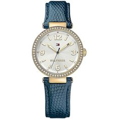 Tommy Hilfiger Navy Dress Watch With Jeweled Bezel (165 CAD) ❤ liked on Polyvore featuring jewelry, watches, jeweled watches, tommy hilfiger jewelry, navy blue watches, jewels jewelry and tommy hilfiger