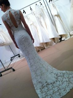 Amsale lace at Bridal Market in NYC