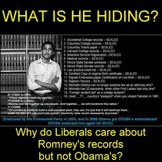 Talk about a Double Standard!  Every record from childhood to adulthood has been sealed......WHY?  There has never been a President that has had his records sealed! What is he hiding?  This should be enough for each of us to  VOTE OBAMA OUT NOV 6