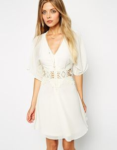 ASOS Skater Dress with Lace Insert and Kimono Sleeve