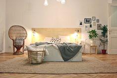 Studio apartment in Prague Plywood headboard