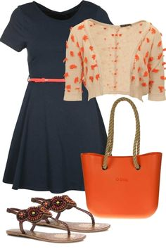 birdsnest Outfit of the Day Sunday 2nd September, 2012. Brighten a cute navy dress with orange this season for a hit of colour. Take this fun look to Sunday lunches and holidays in the sun.
