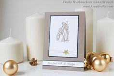 Weihnachtskarte Frohe Weihnachten Maria und Joseph klassisch Krippenfiguren Holzkontur geschnitzt selbstgemacht diy christliches Motiv clean simple einfach schlicht elegant schnell feierlich gesegnete Weihnachten Stampin' Up!