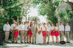 Preppy pink wedding in Key West, Florida! We love the bridesmaids' dresses. | Just Save The Date