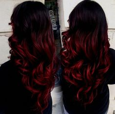 black and red ombre hair - Red Hair Black Hair Ombre, Dyed Hair Ombre, Best Ombre Hair, Magenta Hair, Red Blonde Hair, Short Red Hair, Blonde Ombre, Red Ombre, Red Hair Dye For Dark Hair