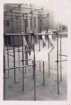 Vintage Monkey Bars. Had these on our playground. If I was going to wear a dress, I made sure to wear shorts underneath so I could play on the monkey bars.