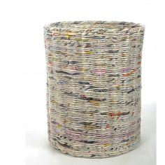 Grand panier de rangement rond en papier journal recyclé Eugène avec couvercle Taille 40