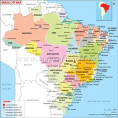 Map Of Brazil Description The Political Map Of Brazil Showing - Brazil political map