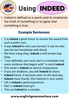 Using Indeed, Definition and Example Sentences - English Grammar Here English Speaking Grammar, Improve English Speaking, English Vocabulary Words, English Phrases, English Time, English Study, English Lessons, Transition Words For Essays, English Language Learning