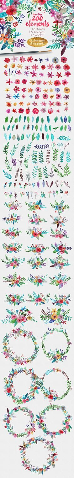 Flowertopia Watercolor Elements by Mia Charro. Perfect for greetings, branding, websites, digital media, weddings, apparel, packaging, invites, merchandise designs, advertising, graphic design and much more. #watercolor #floral #design