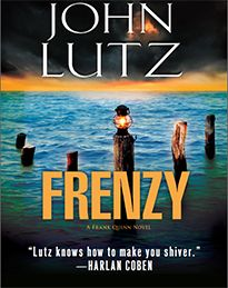 Frenzy by John Lutz.  @ Canterbury Tales Bookshop - Book exchange - Guesthouse - Cafe * Pattaya..   Pretty Maids All In A Row.....  Six dead women in one hotel room.  Five of them students, still in their teens.  Tied up and tortured.  The NYPD recognizes the suspect's signature, three bloody initials carved into each victim's forehead.  Ex cop Frank Quinn has faced this madman before, both bear scars from their last encounter.
