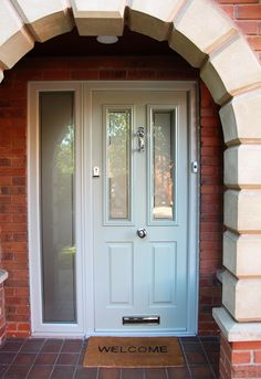 Solidor Ludlow, Painswick Grey with Chrome hardware and Victorian glass Porch Enclosures, Hallway Colours, Composite Front Door, Porch Designs, House Front Door, Paint Companies, Front Door Colors, Back Doors, Entrance Doors