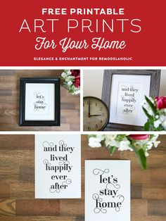 Free Typographic Art Printables for your home. These modern designs would also make a wonderful housewarming, anniversary or wedding gift!